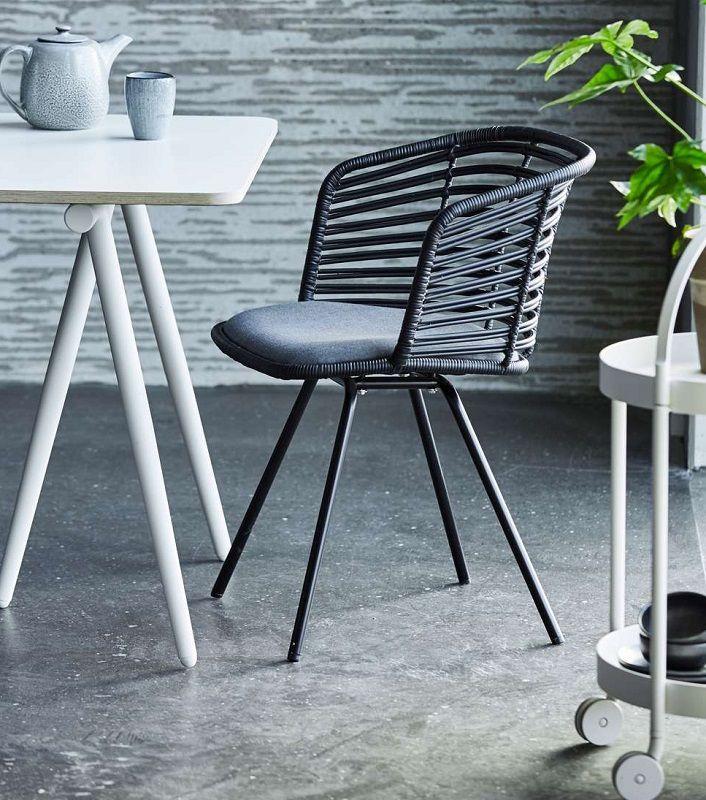 Cane-line - Spin Spisebordsstol - Sort - Sort spisebordsstol