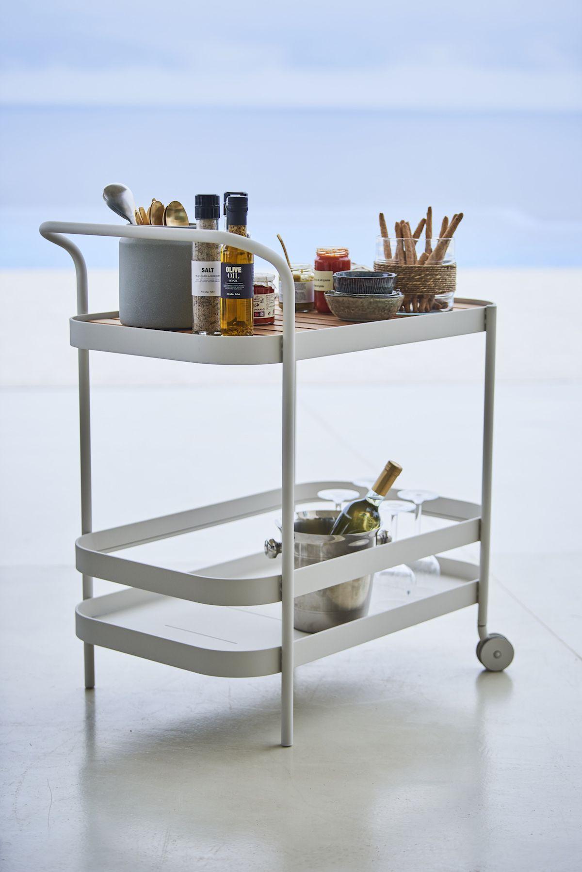 Cane-line Roll Rullebord - hvid alu, teak