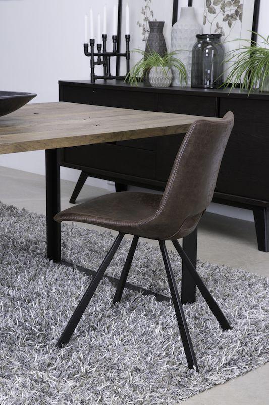Canett - Coronas Spisebordsstol - Mørk brun microfiber - Wayne Spisestol, mørkebrun