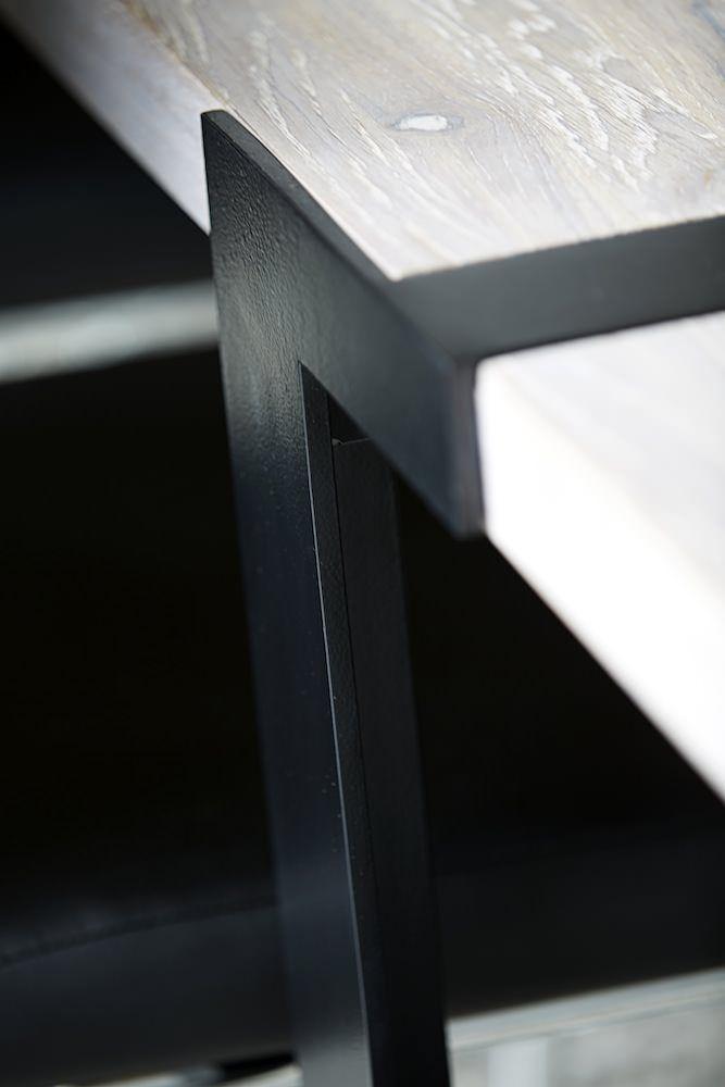 Rustic Spisebord 100x240 - hvidolieret eg og sort - Spisebord i hvidolieret eg