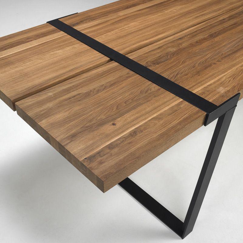 Rustic spisebord 100x290 eg og sort metal gratis fragt for Design esstisch gigant wildeiche