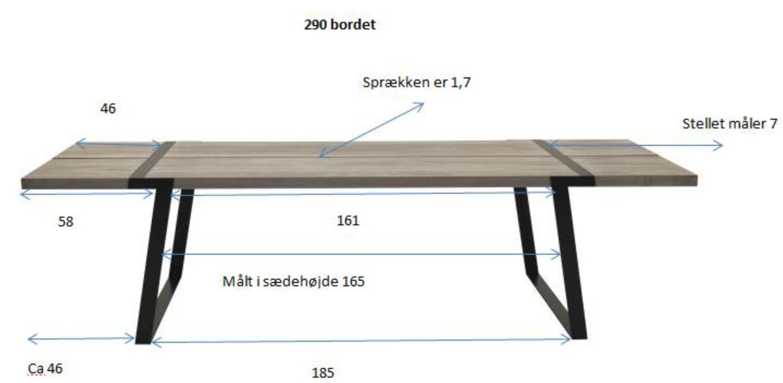 Rustic Spisebord - 100x290 - Eg og sort metal - Spisebord i olieret vildeg