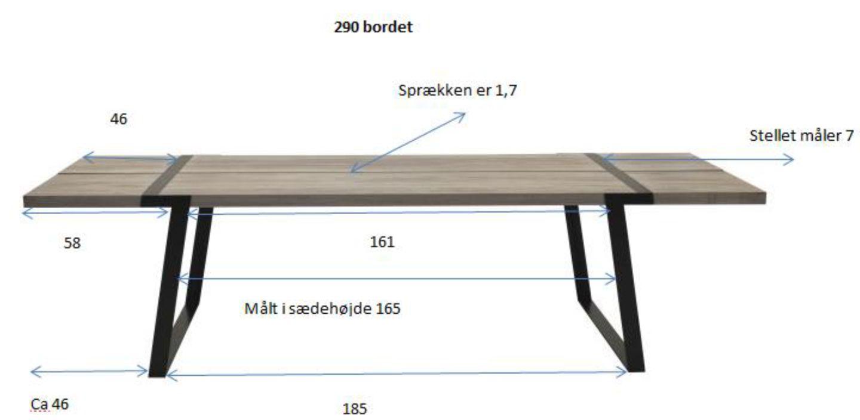 Rustic Spisebord 100x290 - hvidolieret eg og sort - Spisebord i hvidolieret eg