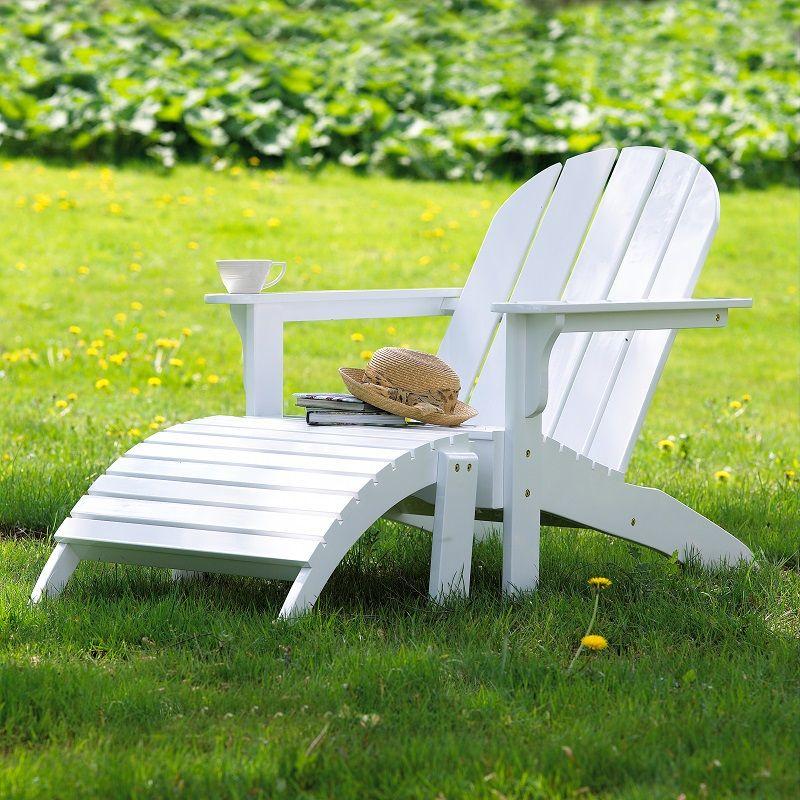 Adirondack Havestol - Hvid - Amerikaner havestol i hvidmalet mahogni