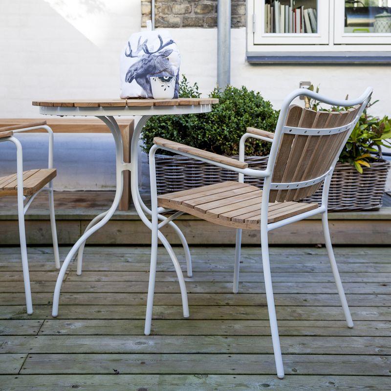 Hard & Ellen Cafébord Ø80 - Hvid/teak