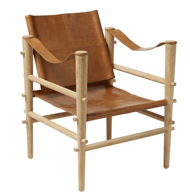 Noble Safari stol - Brun læder - Stel i bambus