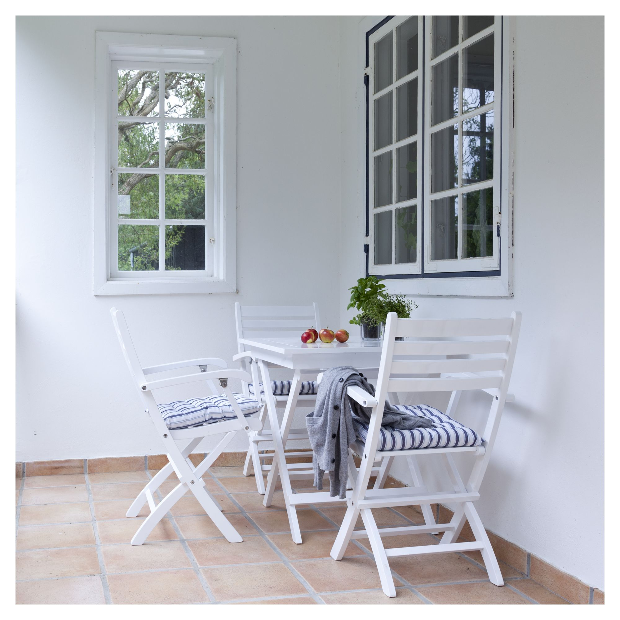 York Havebord - Hvid - Foldebord i hvidmalet mahogni