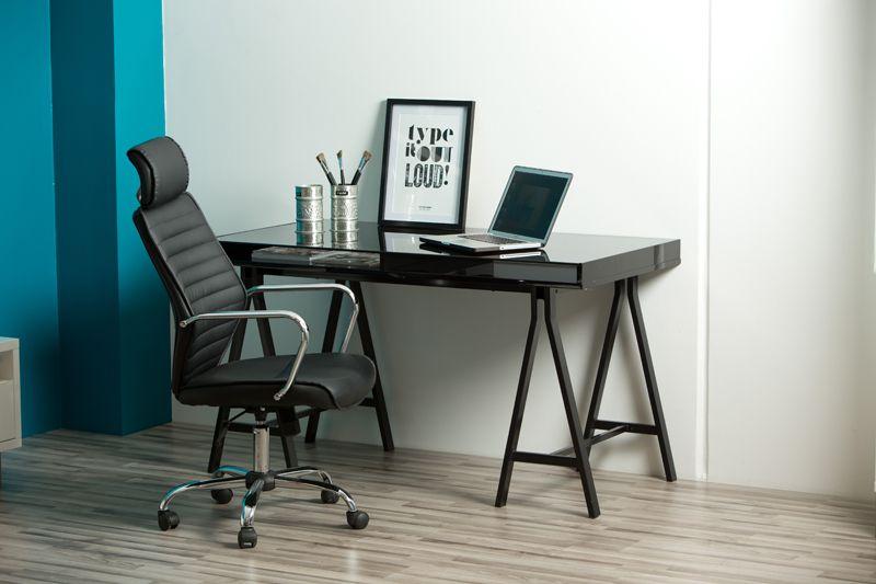 Click Kontorstol - Sort - Skrivebordsstol i sort læderlook