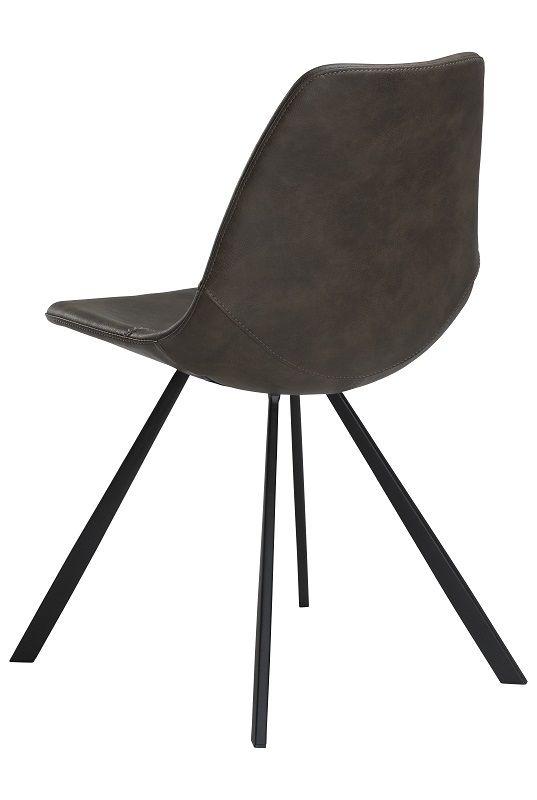Danform - Pitch Spisebordsstol - Grå PU/sort - Spisebordsstol i grå