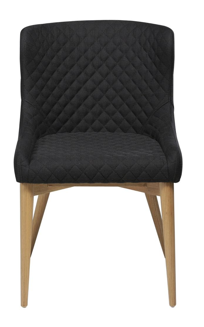 Danform - Vetro Spisebordsstol, sort stof, ege ben