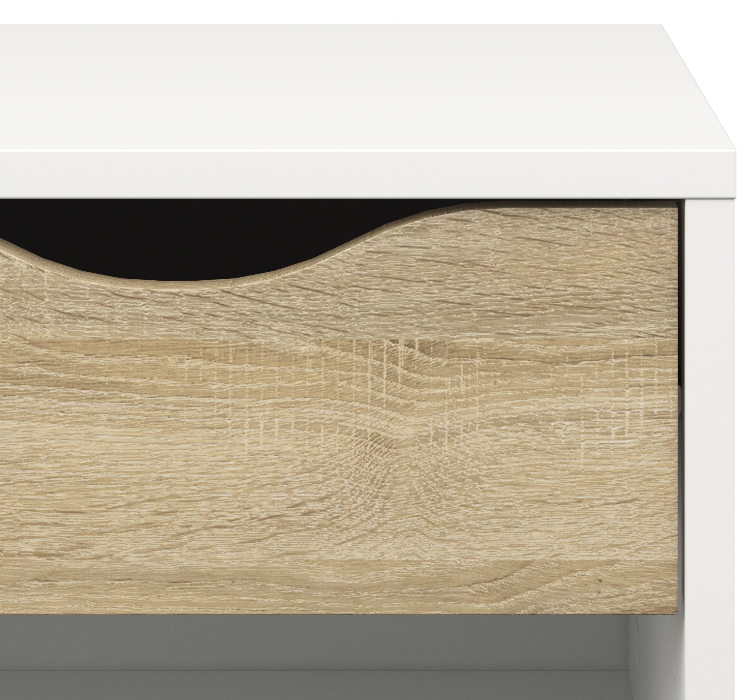 Delta Sengebord - Hvid - Sengebord i hvid med egetræsstruktur