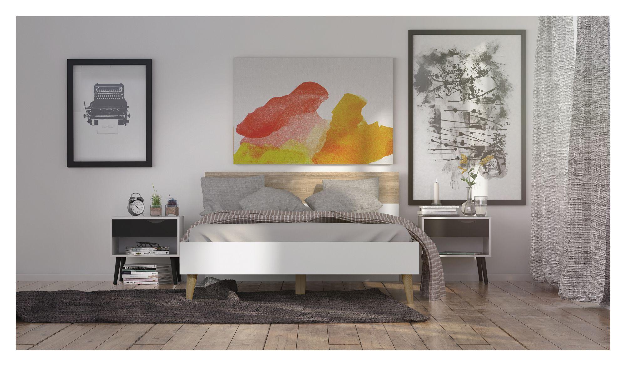 Delta Sengeramme - 140 x 200 cm - Hvid sengeramme med egetræsben