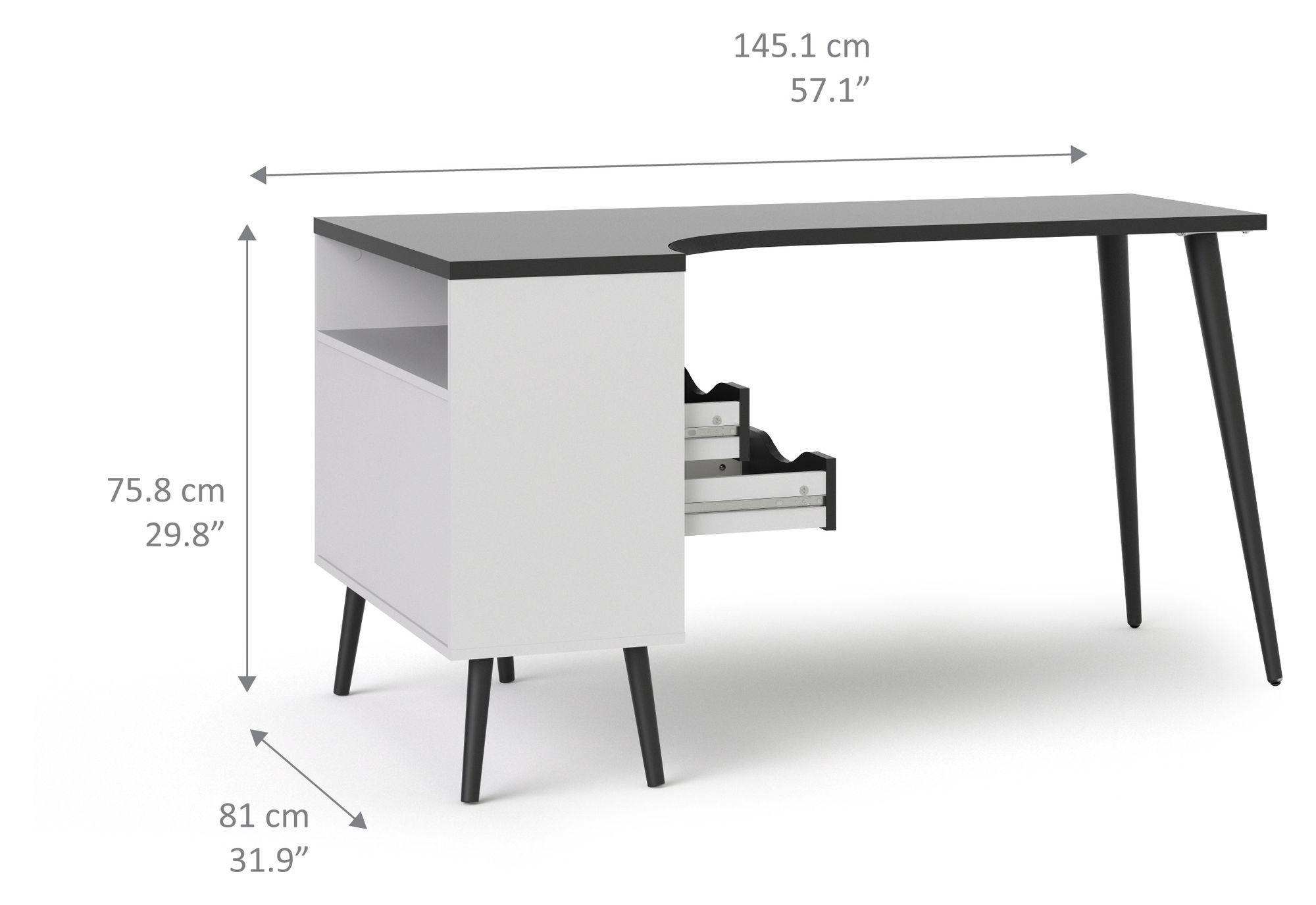 Delta Skrivebord m/vinkel og opbevaring - Sort
