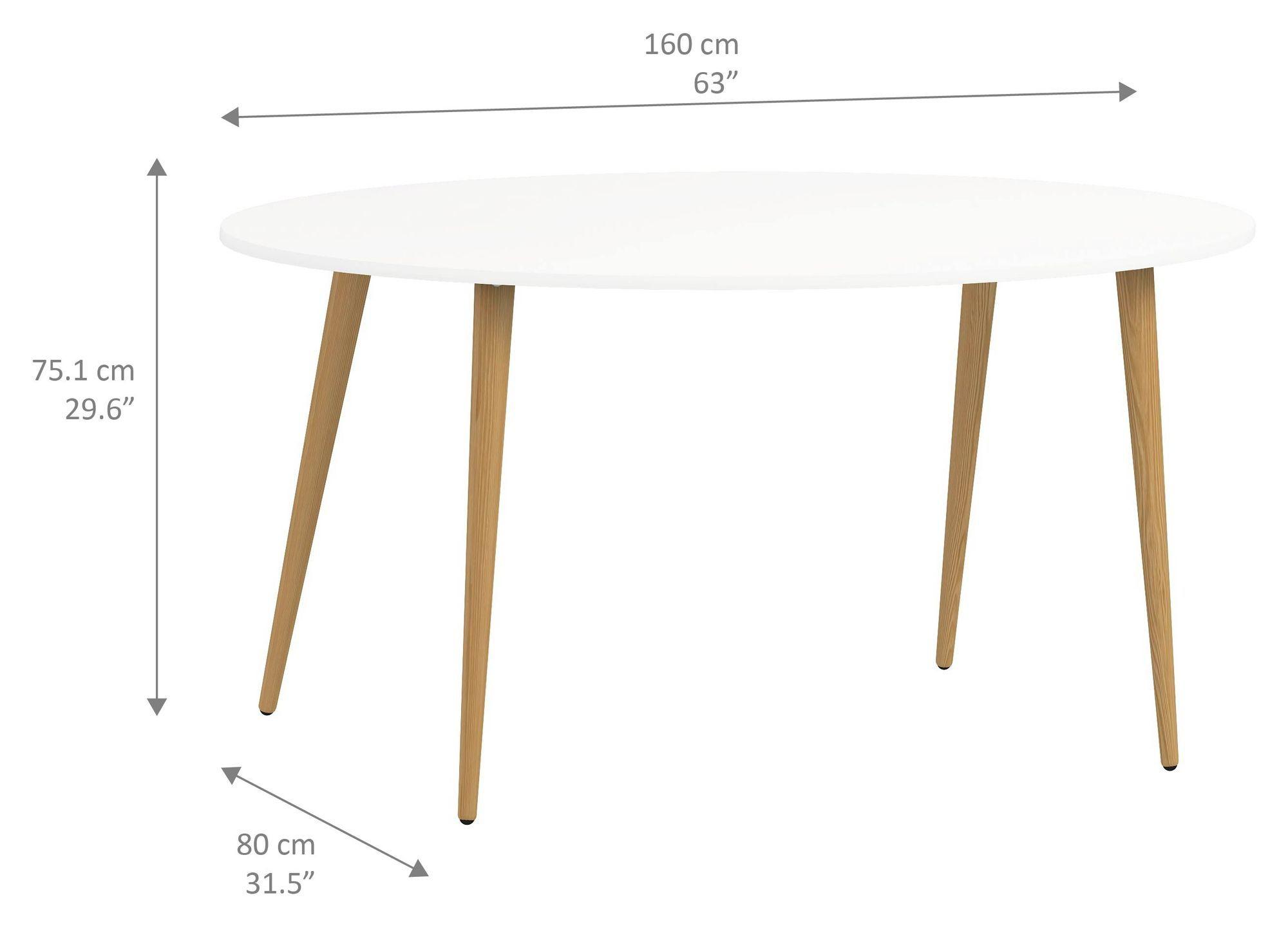 Delta Spisebord - Hvid - 160 cm - Ben i eg