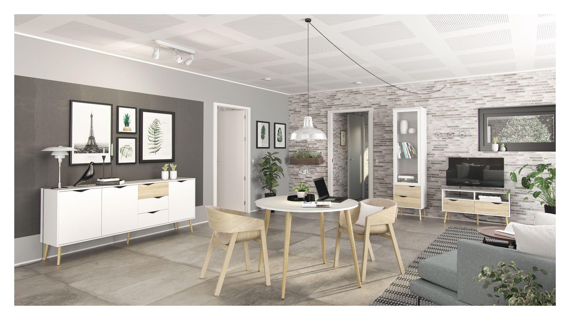 Delta Spisebord - Hvid - Rundt spisebord i hvid med træben