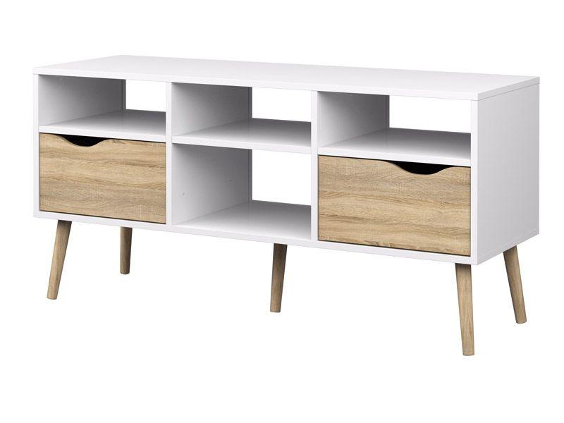 Delta TV-bord - Hvid med egelook - Tv-bord med 2 skuffer