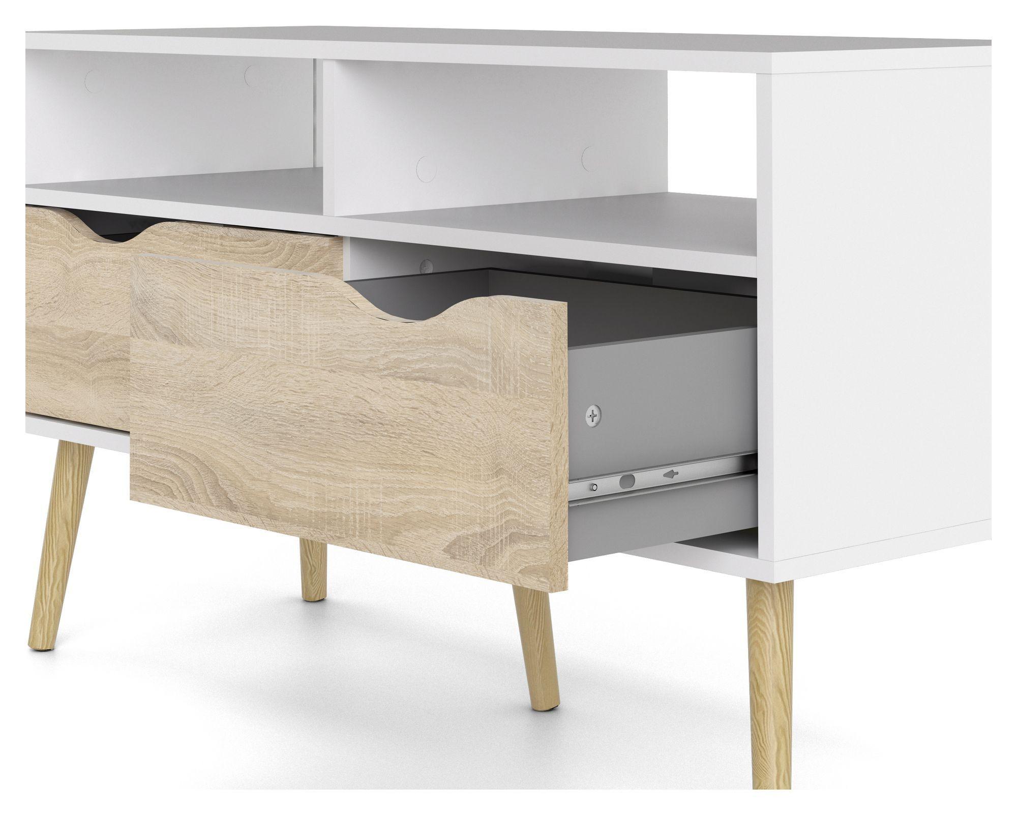 Delta Tvbord - Hvid - TV-bord i hvid med 2 skuffer