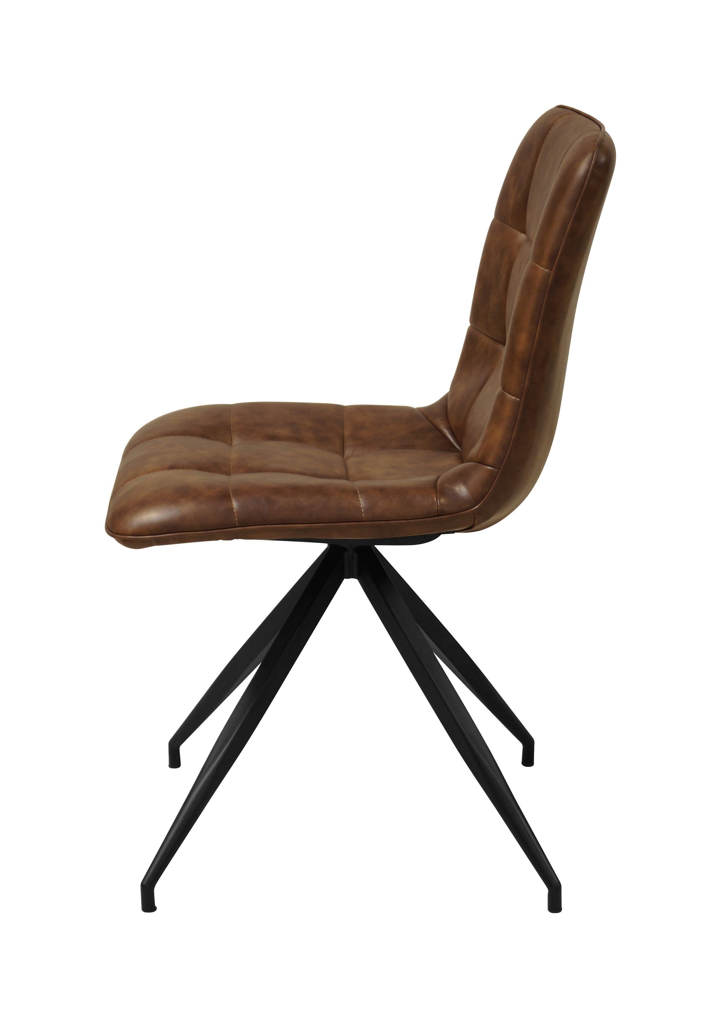 Dutch Spisebordsstol m. Brun PU - Brun spisebordsstol i kunstlæder