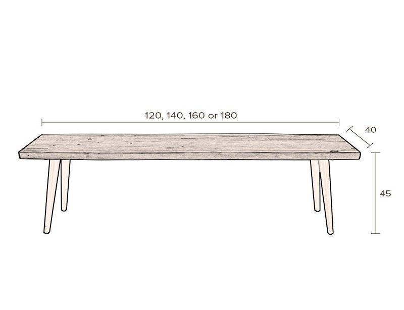 Dutchbone - Alagon Bænk 160x40 - Sorte ben