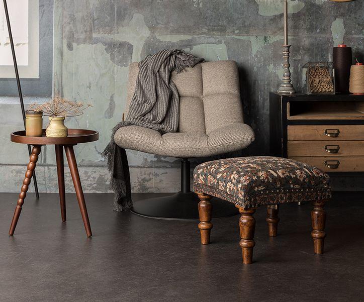 Dutchbone - Bar Loungestol - Lys Grå - Lysegrå loungestol med sort ramme