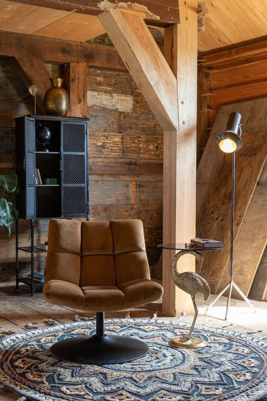Dutchbone - Bar Loungestol m. velour - Gyldenbrun
