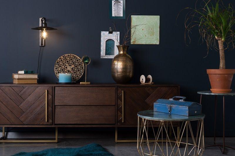 Dutchbone - Boss Sidebord - Grøn - Rundt sidebord med marmorbordplate