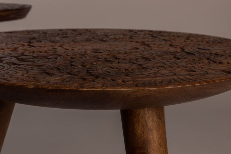 Dutchbone - By Hand M Sidebord - Mørktræ - Sidebord i sesam tre - 35x37