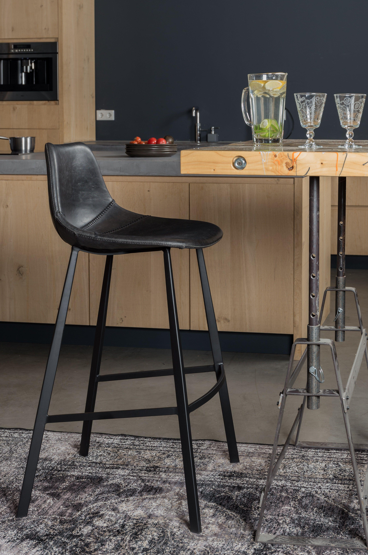 Dutchbone - Franky Barstol - Sort PU læder - Sort barstol