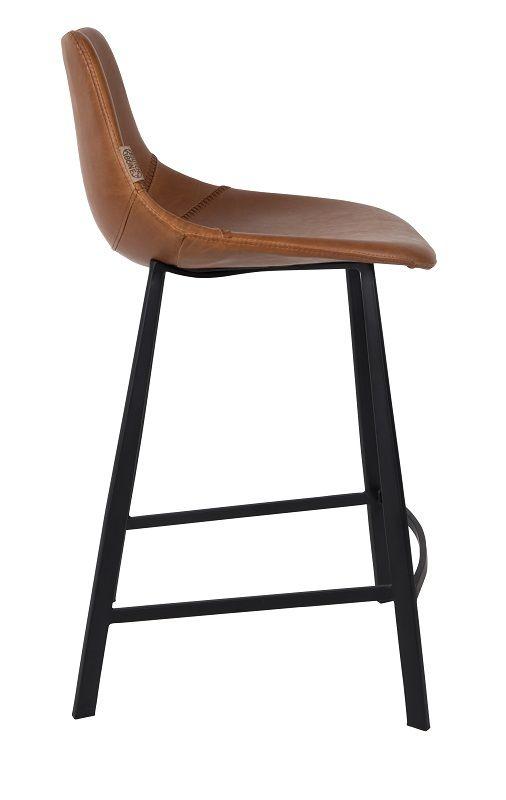 Dutchbone - Franky Counterstol - Brun PU læder - Barstol med sæde i brunt kunstlæder