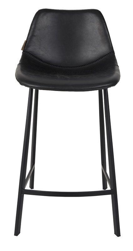 Dutchbone - Franky Counterstol - Sort PU læder - Barstol med sæde i sort kunstlæder