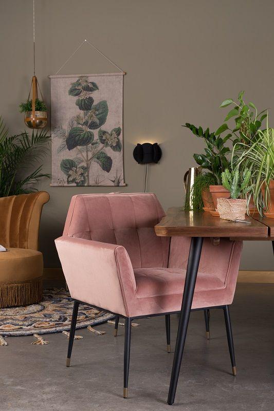 Dutchbone - Kate Spisebordsstol m/armlæn - Pink clay