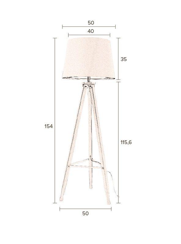 Dutchbone - Rif Gulvlampe - Beige - Lys bomuldsskræm