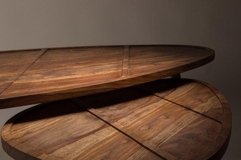Dutchbone - Shame Sofabord - Natur - Sofabordssæt i sheeshamtræ