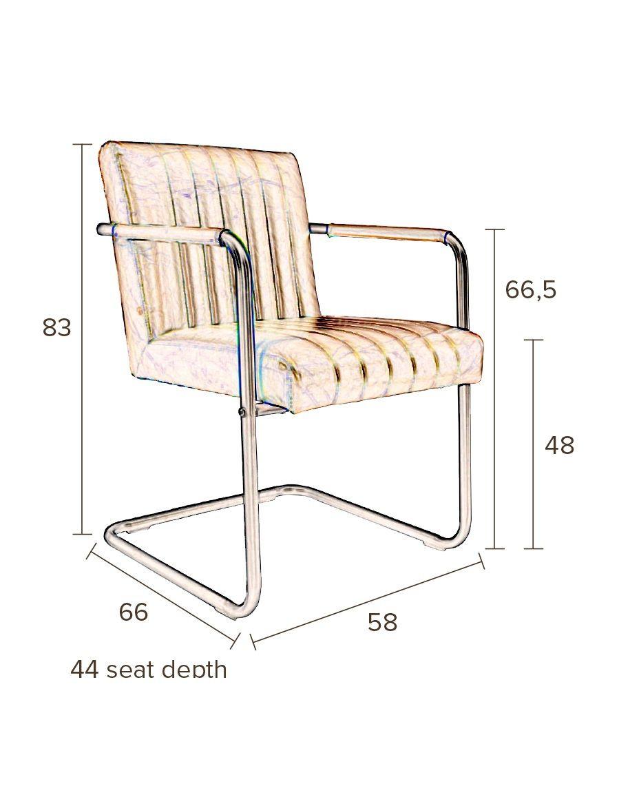 Dutchbone - Stitched Spisebordsstol - Cognac - Konjakkfarget spisebordstol med sete i kunstskinn