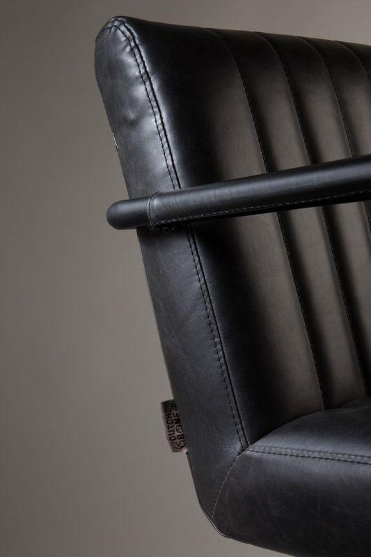 Dutchbone - Stitched Spisebordsstol - Grå - Mørkegrå spisestol med sæde i kunstlæder