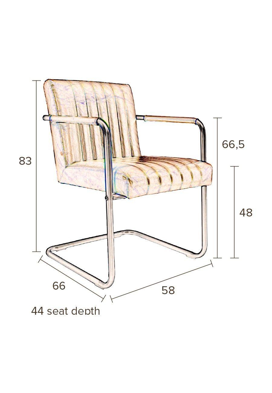 Dutchbone - Stitched Spisebordsstol - Grå - Mørkegrå spisebordstol med sete i kunstskinn