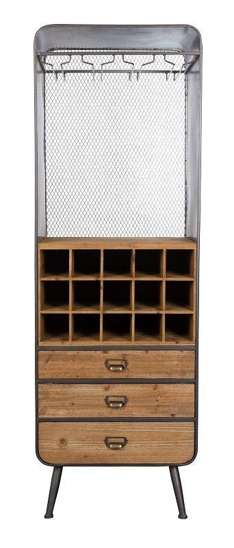 Dutchbone Vino Vinreol - Vinreol med glasophæng, opbevaring og skuffer