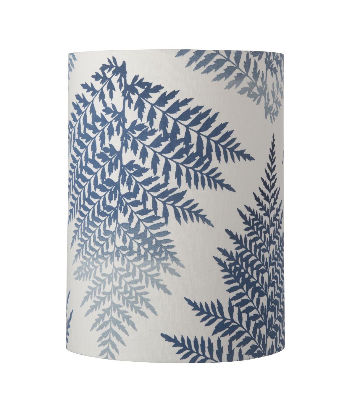 Ebb&Flow - Lampeskærm, fern leaves graphic, indigo, Ø30