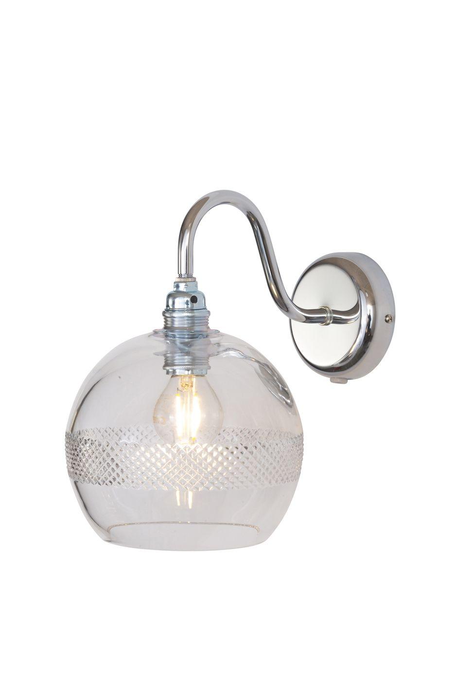 Ebb&Flow - Rowan Krystal væglampe, Sølv, check mini stripe