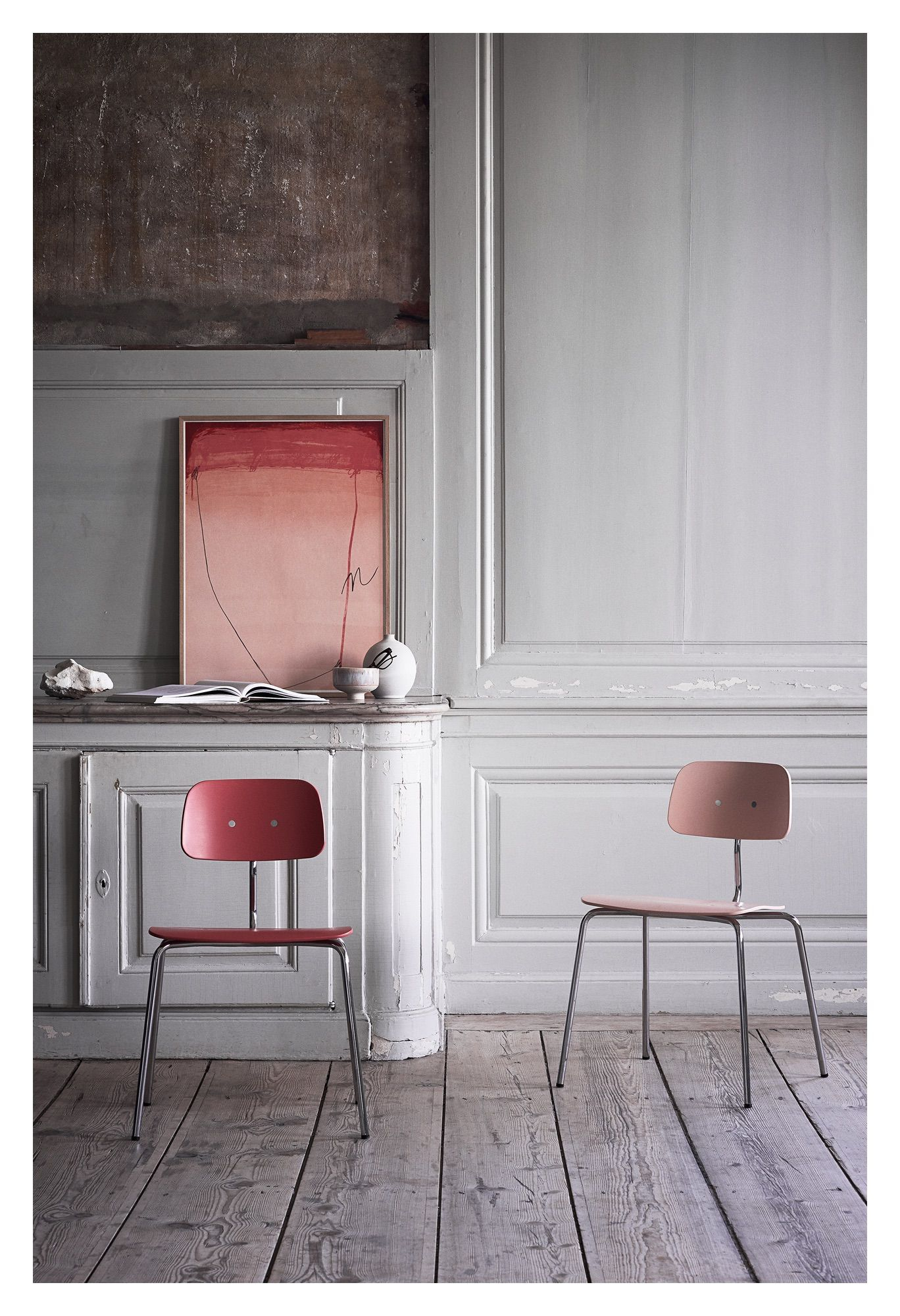 Engelbrechts KEVI 2060 Spisebordsstol, Deep Peach/Krom