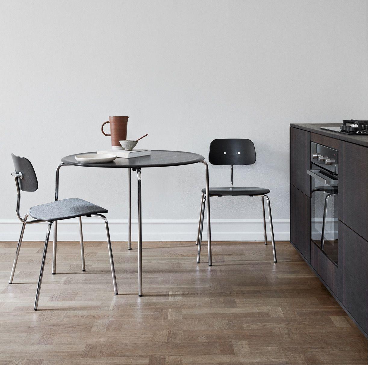 Engelbrechts KEVI 2060 Spisebordsstol, Sort/Krom