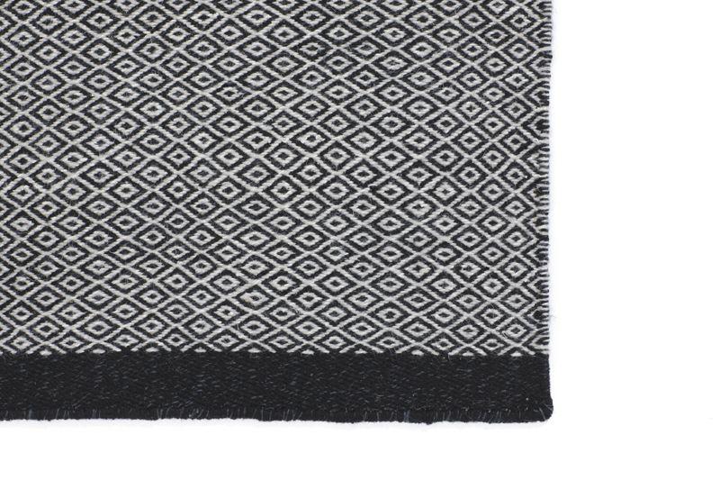 Fabula Living - Elli Sort/grå Kelim - 200x300 - Håndvævet tæppe 200x300 cm