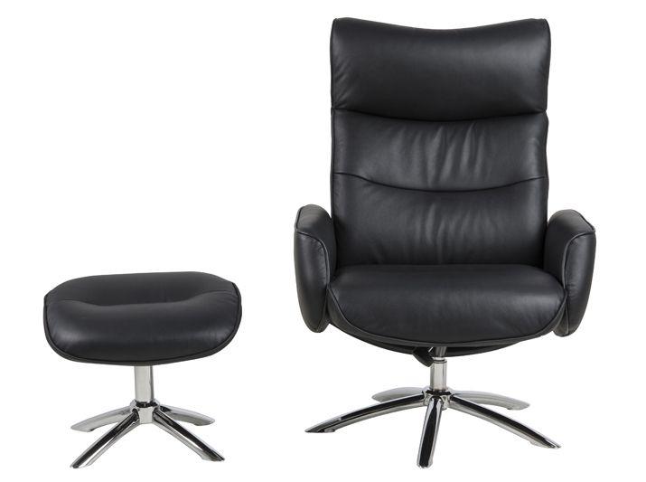 Fairfax Hvilestol - Sort - Sort læder og skubfunktion