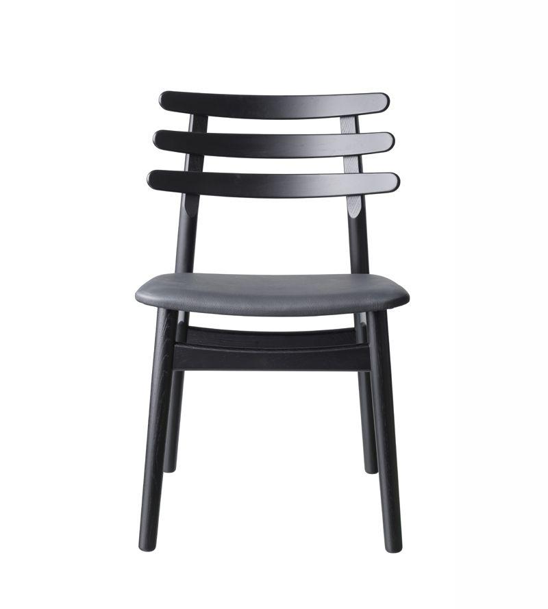 FDB Møbler - J48 Spisebordsstol - Sort/læder