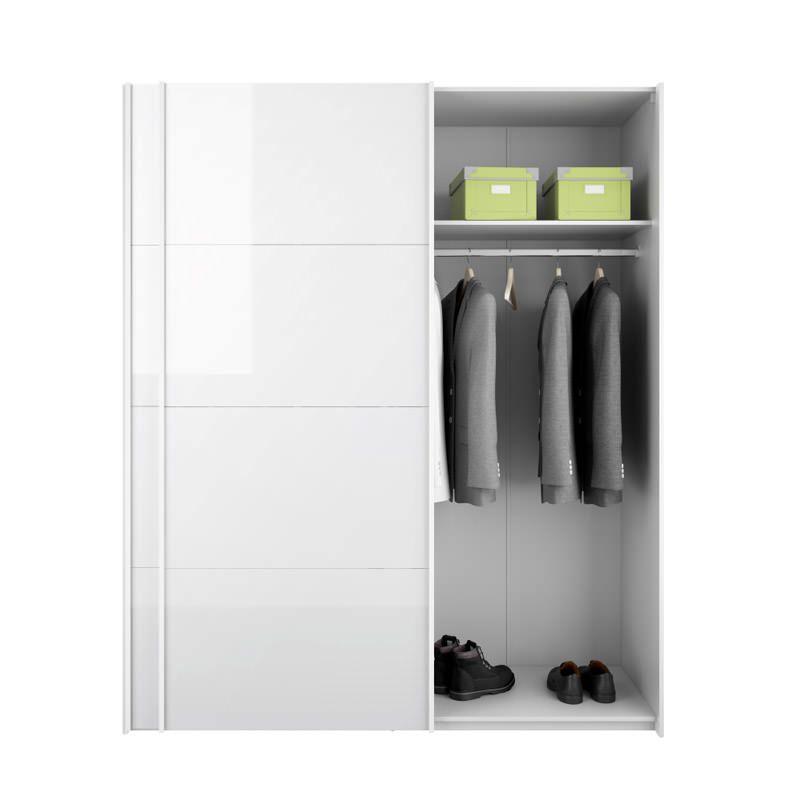 Firenze Garderobeskab - Hvid højglans - Garderobeskab i hvid med skydelåger i hvid højglans
