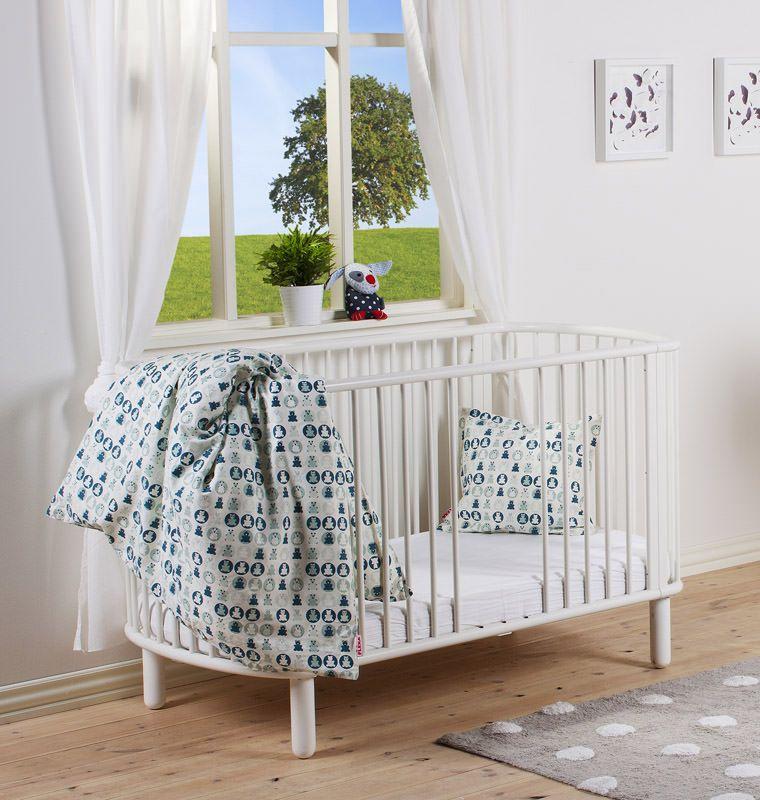 FLEXA Baby Tremmeseng - Hvidlakeret bøg