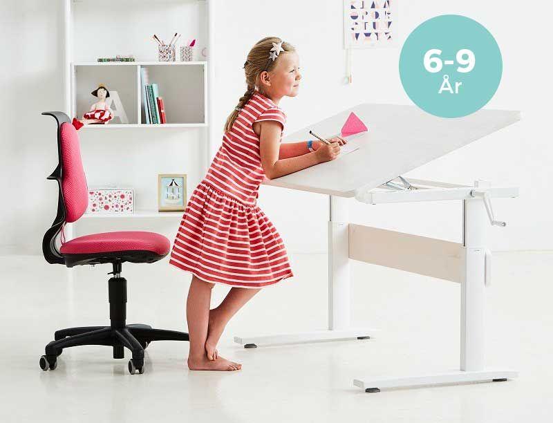 Flexa Study Skrivebord - Hvid - Hæve-/ sænkebord med vipbar bordplade
