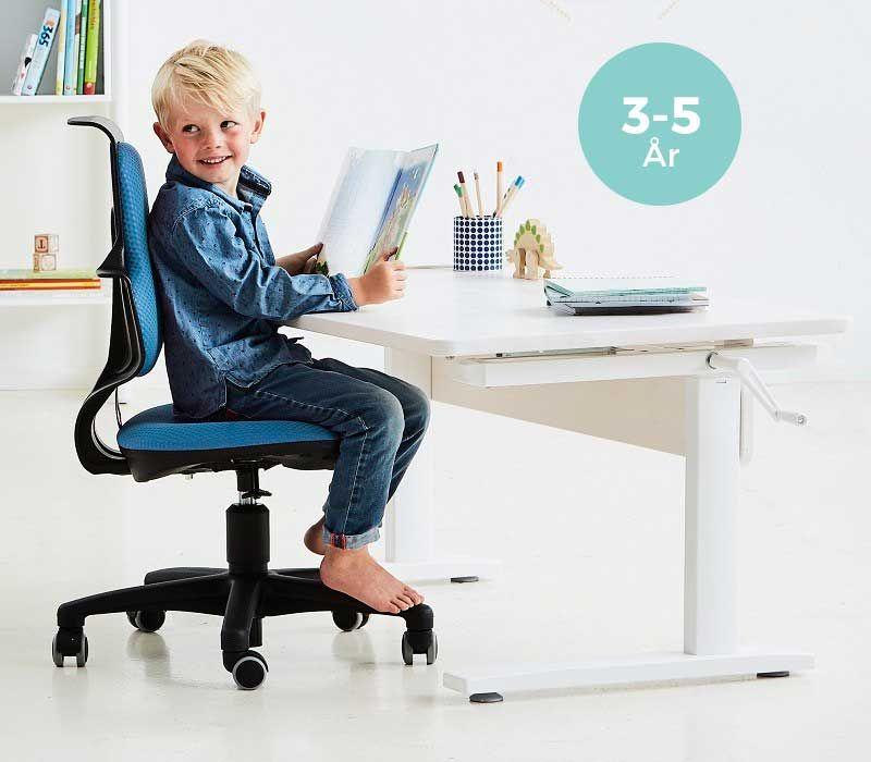 FLEXA - Study Junior Skrivebord - Hvidpigmenteret - Hæve-/ sænkebord med hvidpigmenteret bordplade