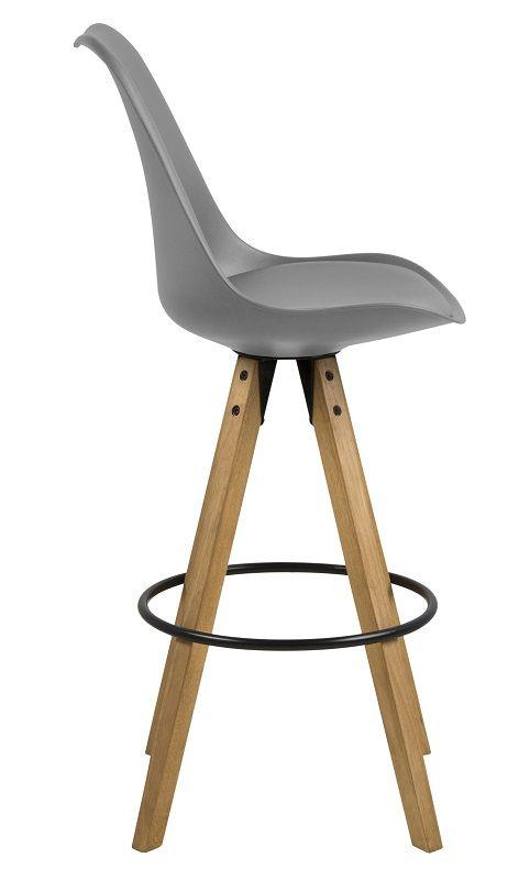 Fryd Barstol - Grå - Grå barstol med træben