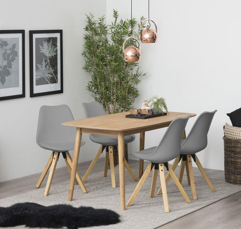 Fryd Spisebordsstol - Grå Plastik og PU - Ben i bejdset gummitræ
